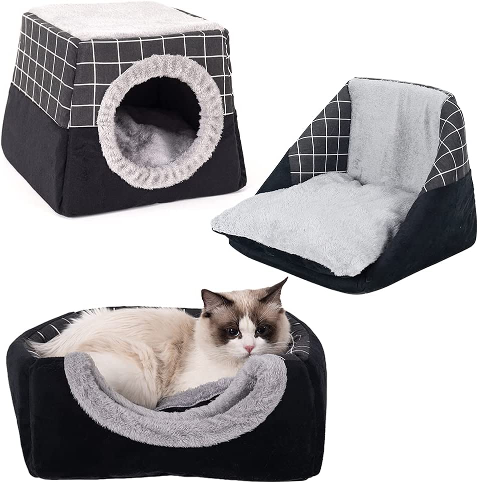 Laamei Cat House Bed 2 In 1 Foldable Cat Cave For Indoor Cats Cat House Indoor With Cozy Bed Nd Removable Scratch Pad Upgrade Cat Cube Large 15inches Black Kitchen