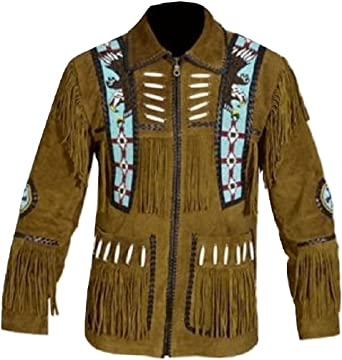 Bestzo Mens Western Cowboy Fringes /& Bone Suede Leather Jacket Brown XS-5XL