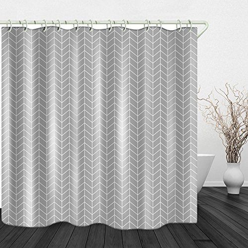 Metal Diamond Vinyl Liner - Mildew Resistant Anti-Bacterial PEVA Shower Curtain Liner Covered Bathtub Bathroom Shower Curtains Includes 12 Anti Rust Hooks 72x72 Inch Gray Wavy Diamond Non Toxic Eco-Friendly No Chemical Odor