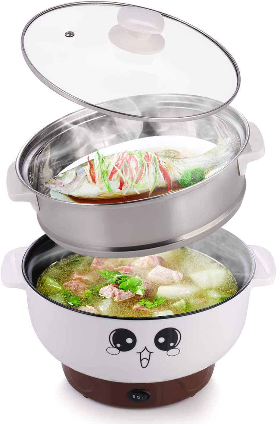 MINGPINHUIUS 4-in-1 Multifunction Electric Cooker Skillet Wok Electric Hot Pot For Cook Rice Fried Noodles Stew Soup Steamed Fish Boiled Egg Small Non-stick with Lid (2.3L, with Steamer)