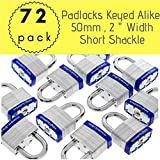 Pack of 72,Dynamite Padlocks Heavy Duty Laminated Steel Padlock Short Shackle Hardened Steel Shackle, Commercial Grade Keyed Alike 2-Inch, 50mm Padlocks Keyed Alike Set (72)