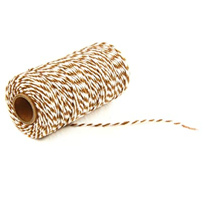 AKOAK Bakers Twine, 1 Roll 109 Yards Cotton Twine Packing String for Gift Wrapping, Crafts and Decoration (Brown+White) : Office Products