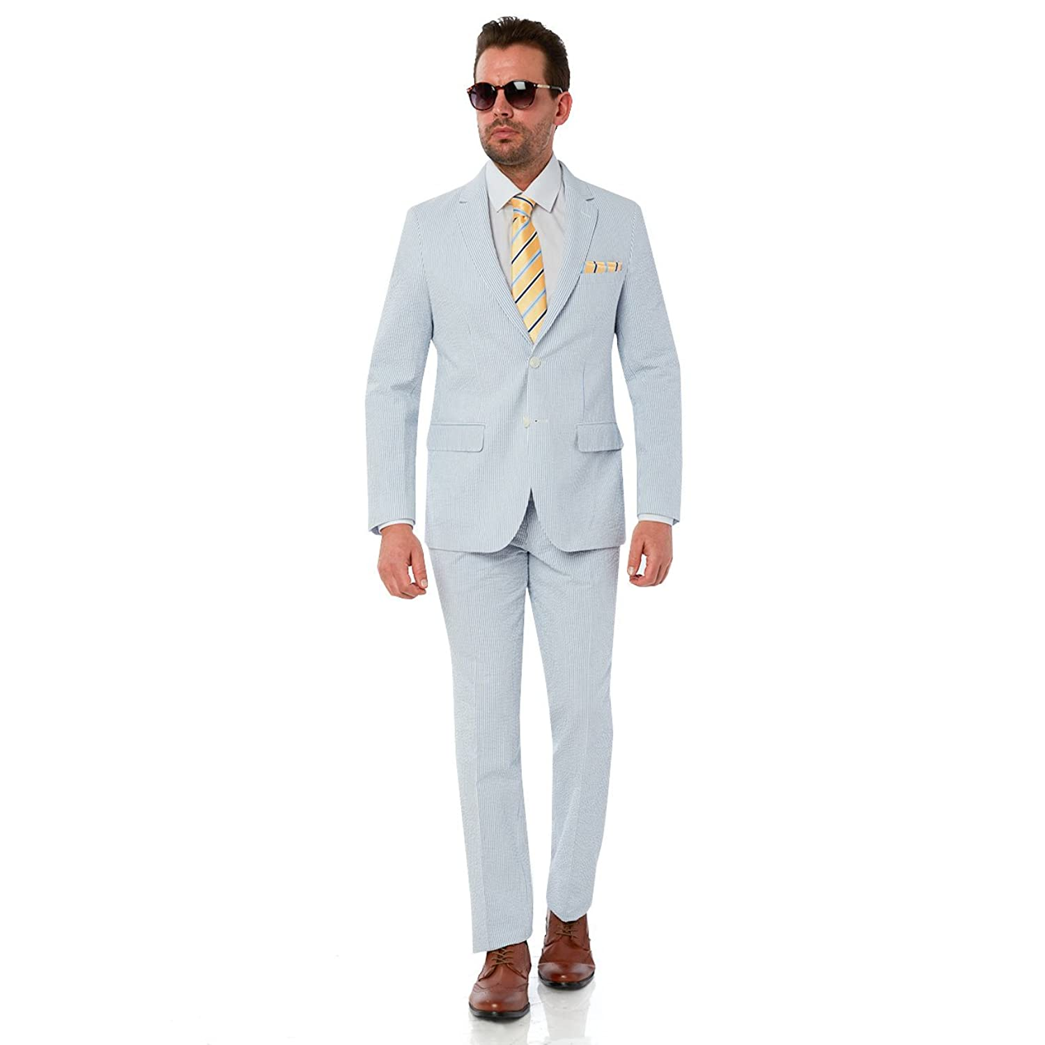 Mens 2 button 2 Piece Modern Fit Suit - Seersucker Cotton Fabric ...