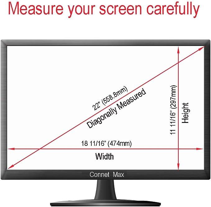 Connet Max - Protector de pantalla de 22 pulgadas (medidas diagonalmente) antirreflejos para pantalla panorámica de escritorio, monitor LCD (relación de espectro 16:10, 474 mm de ancho x 297 mm de alto: Amazon.es: Electrónica