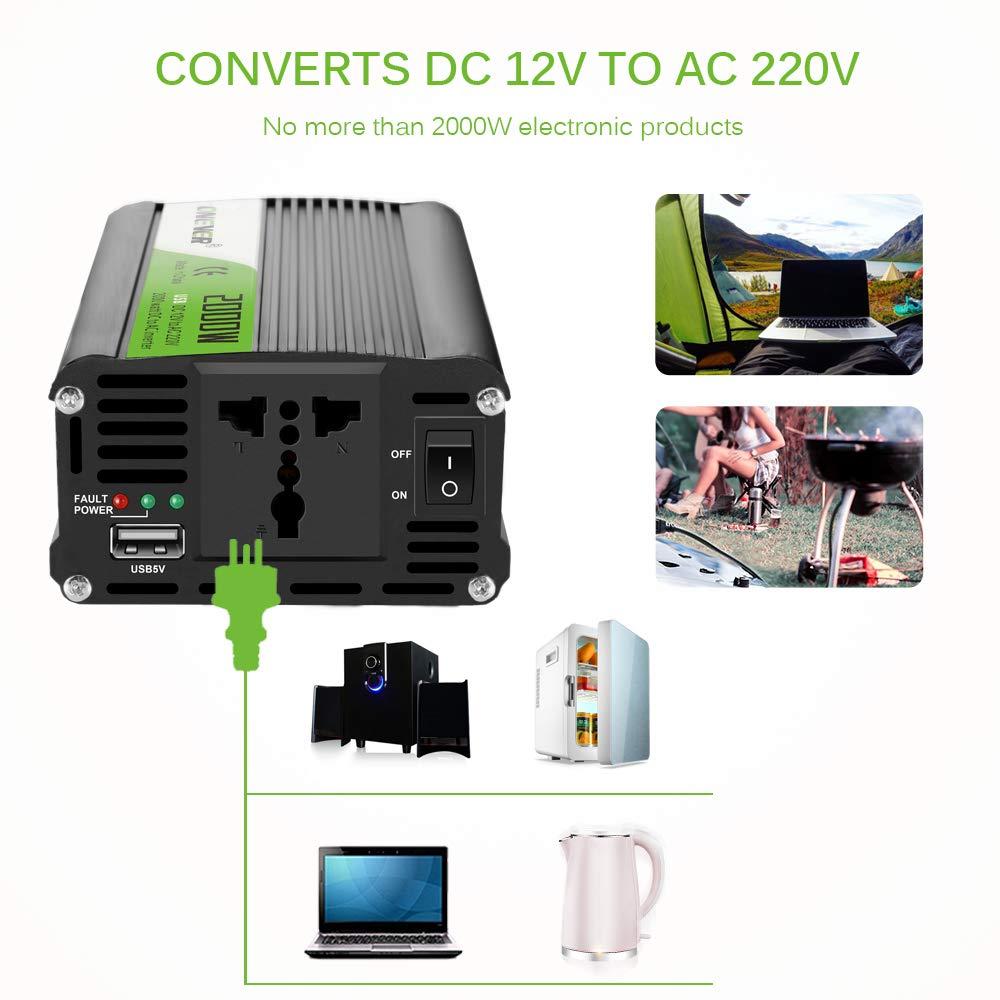 Konesky Convertisseur de Courant de Voiture 2000 W DC 12 V vers AC 220 V Onde sinuso/ïdale modifi/ée avec Prises AC et Chargeur USB 2,1 A Compatible avec contr/ôle Intelligent de la temp/érature