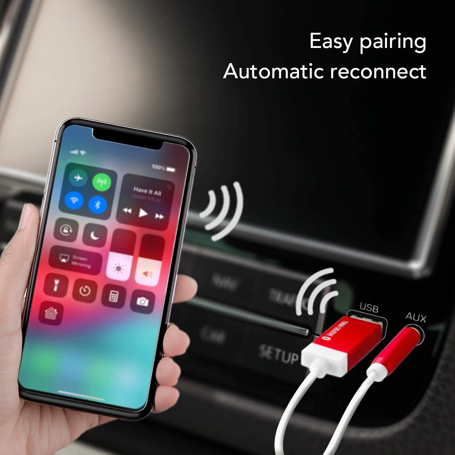 No Charging Needed Red Home Pack TUNAI Firefly Bluetooth Receiver: World/'s Smallest USB Wireless Audio Bluetooth 4.2 Adapter with 3.5mm AUX for Car//Home Stereo Music Streaming; Auto On