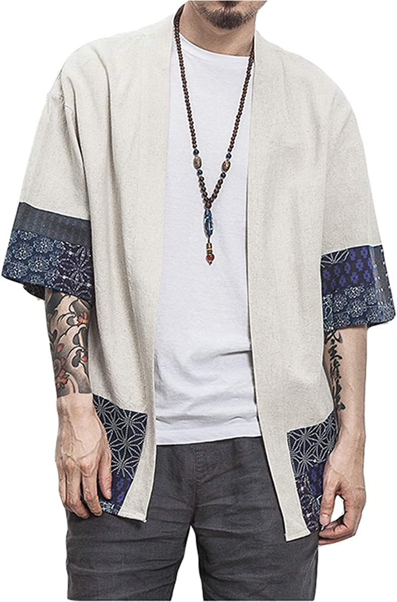 PERDONTOO Mens Casual Kimono Cardigan Noragi Jackets Cloak Open Front Coat