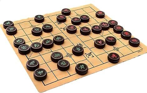 GZ Juego de ajedrez Chino Xiangqi con cartón Cuero, Juegos de Mesa Tradicional Xiangqi clásicos educativos de Estrategia Juegos de Mesa for 2 Jugadores (Color : Black, Size : 5CM/2