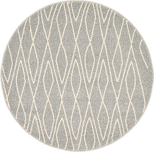 Unique Loom Morocco Collection Gray 3 ft Round Area Rug (3' 3