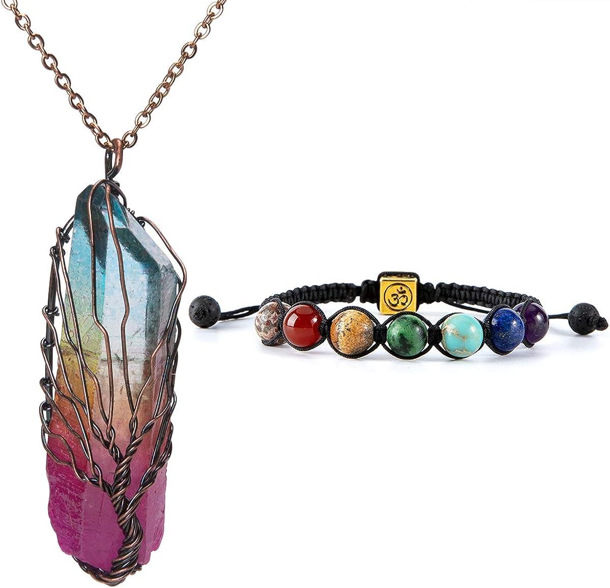 Clear Quartz Crystal Point 7 Chakra Stone Silver Pendant Necklace Reiki Healing