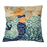 Sunlightsell Stylish Simplicity Mediterranean style Cotton Linen Square Decorative Fashion Throw Pillow Case Cushion Cover (S003C4)