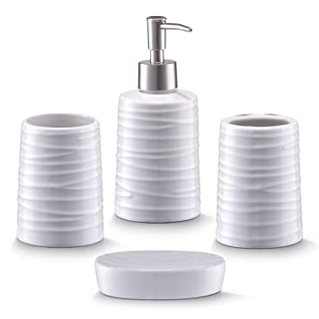 Zeller 18266 Bad-Accessoires-Set, 4-teilig, Keramik, weiß: Amazon.de ...