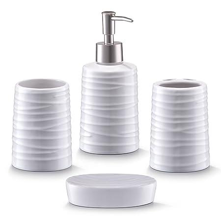 Zeller 18266 Bathroom Accessories 4 Part Set Ceramic White