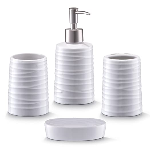 zeller 18266 bathroom accessories 4 part set ceramic white - White Bathroom Accessories Ceramic
