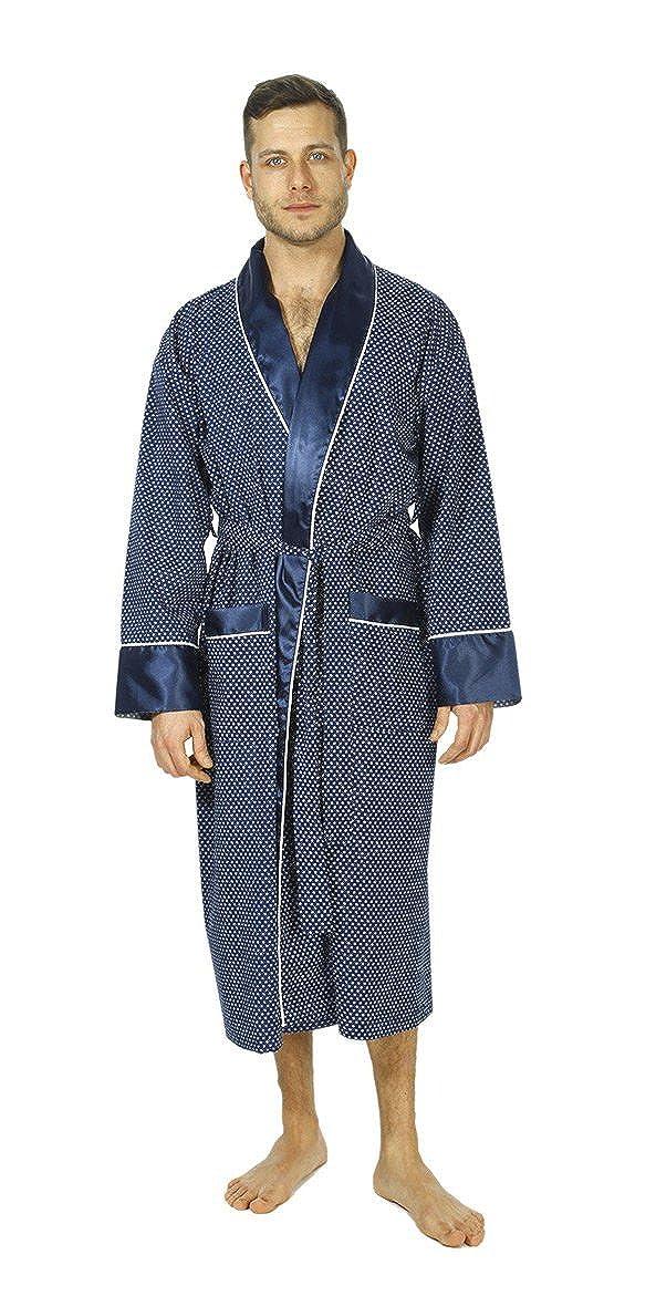 Mayfair Navy Bown of London Mens Luxury Dressing Gown Lightweight Mock Silk