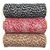 Wrapables 4-Ply Cotton Baker's Twine for Gift Wrapping and Arts and Crafts, 110-Yard Spool, Black/Red/Brown, Set of 3