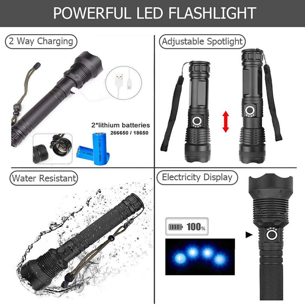 Pescar Actividades al Aire Libre Acampar XHP70.2 90000 L/úmenes Linterna LED IPX-6 Luz LED Port/átil a Prueba de Agua Linterna Recargable con USB Antorcha de Zoom para Escalar