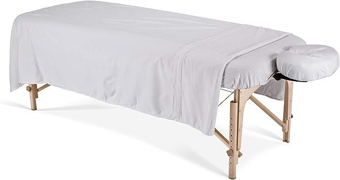 Earthlite Deluxe - Sábanas para camilla de masajes (franela), color blanco: Amazon.es: Salud y cuidado personal