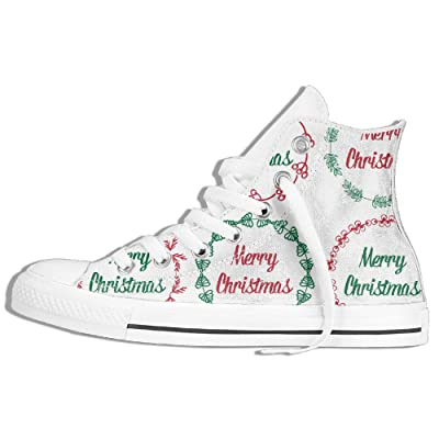 Cute Christmas Label? Women Men Lace Up High Top Canvas Sneakers Shoes Unisex
