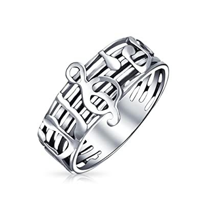 Bling Jewelry Sterling Silber Noten G Violinschlüssel Ring: Amazon ...