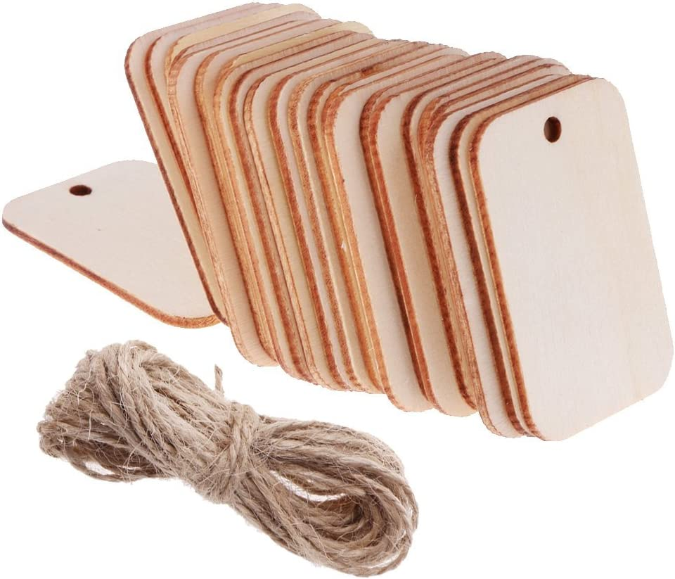 100-Pack Unfinished Wood Gift Tag Wooden with Jute Ropes for Home DIY Supplies