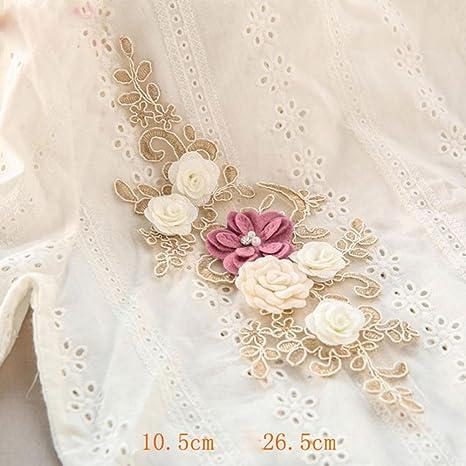 Embroidery Bridal Gown Applique Plum Blossom Lace Motif Wedding Lace Trim 1 PC