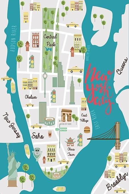Amazon.com: New York City Illustrated Map Art Print Mural ...