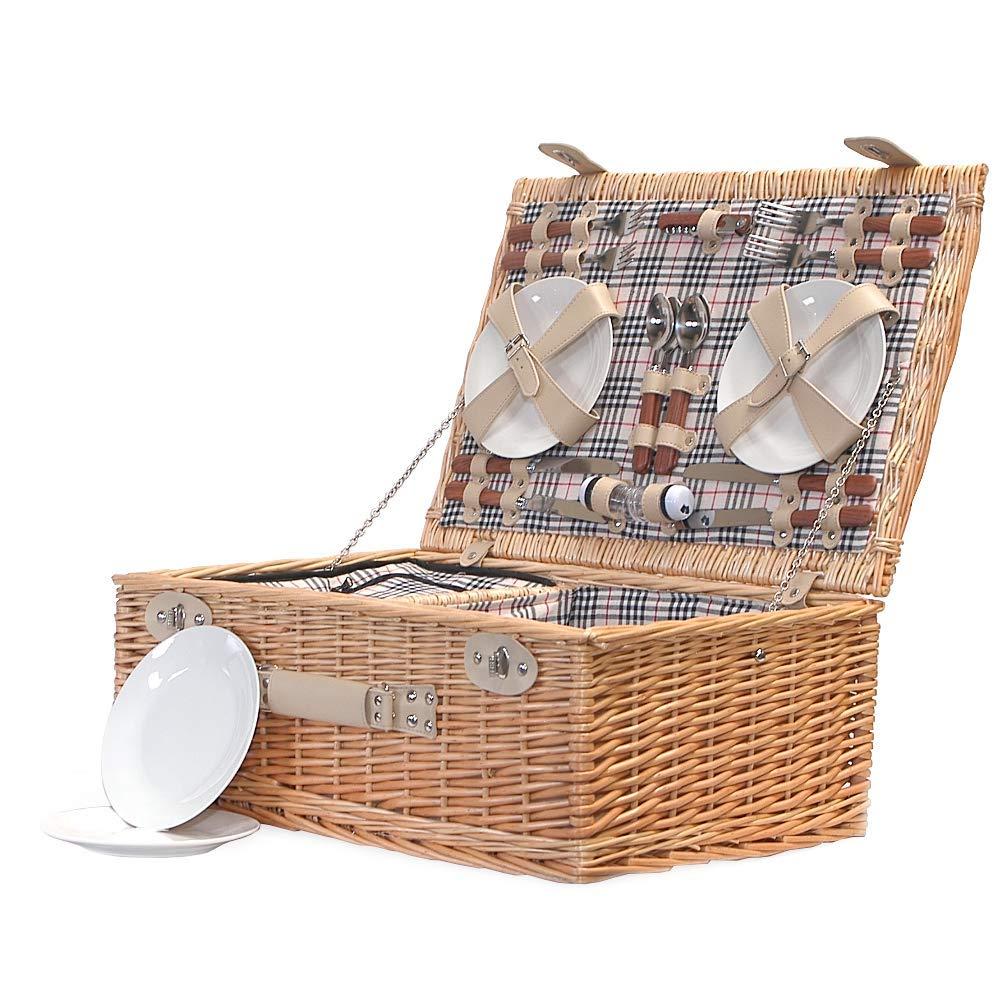Die Grosvenor Picknickkorb, aus Rattan, für 4 Personen mit integrierter Kühltasche Fach &Zubehör von Fine Food Store Geschenkideen für, Muttertag, Geschenk, Valentinstag, Geburtstag, Herren, ihn, mit  Dad, Mum , personalisierbar, mit A