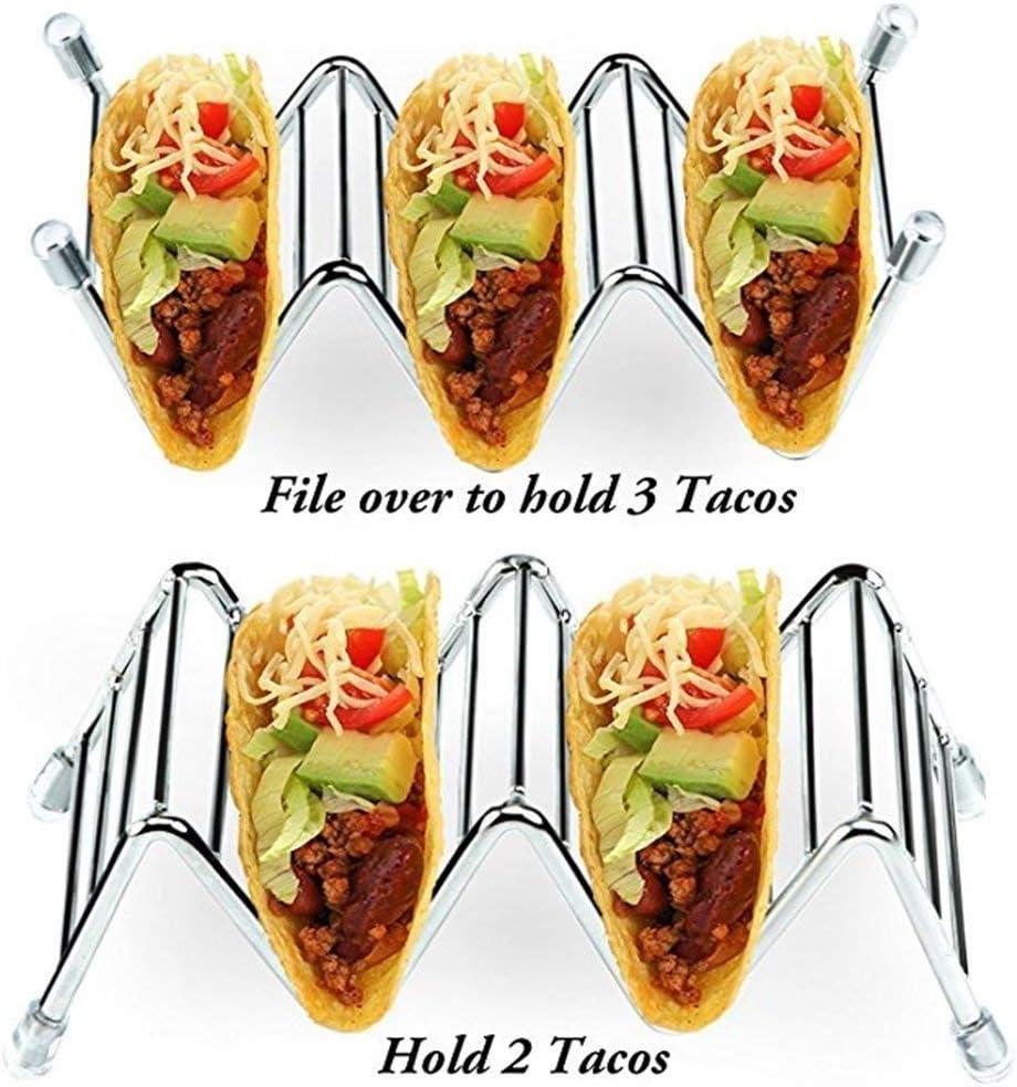 Lot de 4 en acier inoxydable élégant Taco détenteurs Restaurant Style Taco Stands Hold