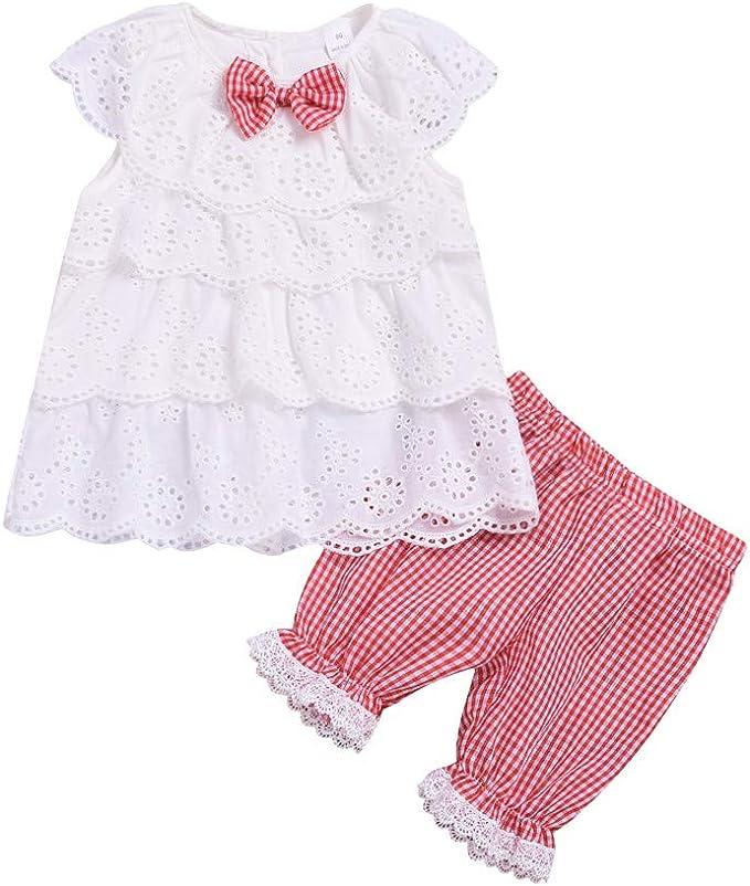 Neugeborenes Baby M/ädchen Blumendruck Kleidung Set Infant Langarm Top Lace Hose Outfit Set