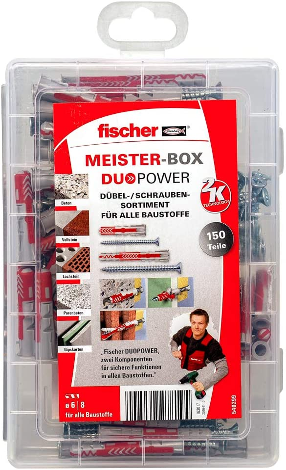 Gris Fischer 540299 Meister-Box Duo Power-Caja de Herramientas Corta//Larga, Incluye, 150 Tacos y Tornillos