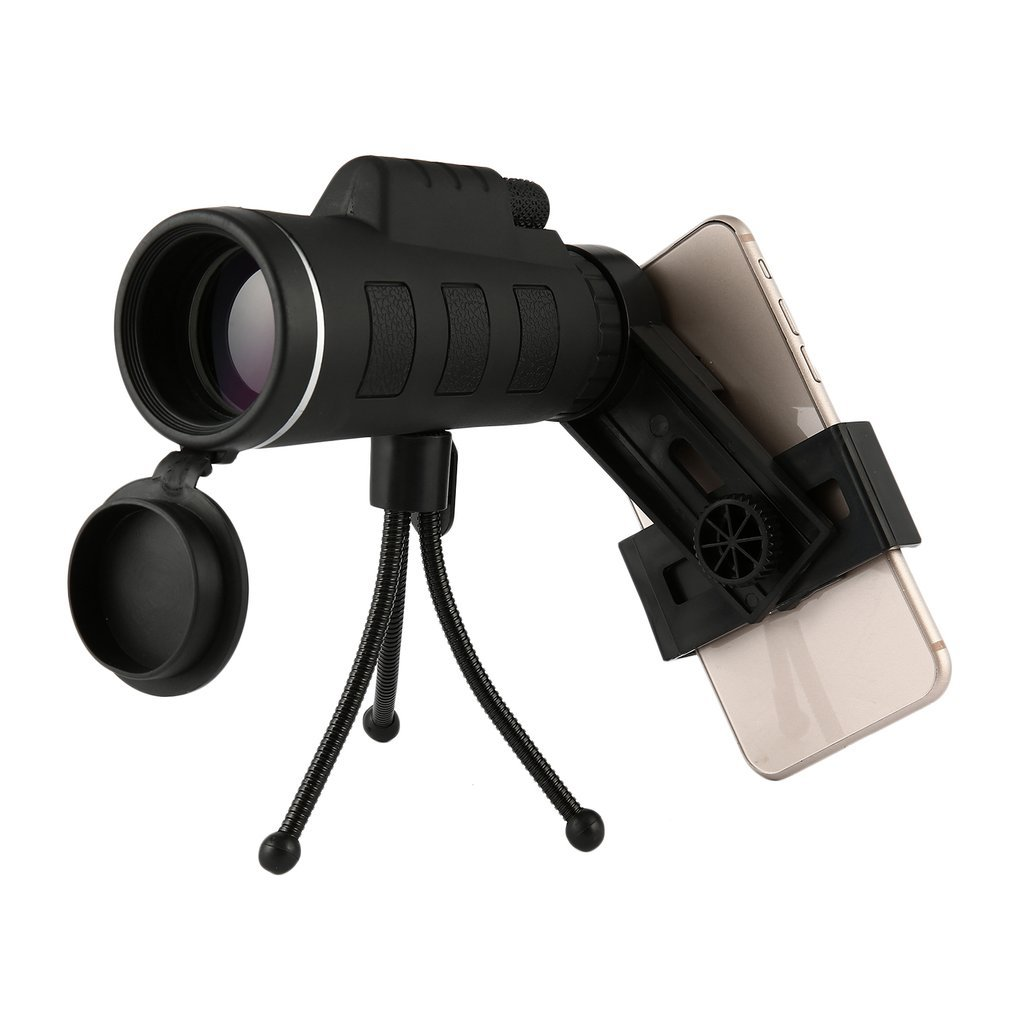 LBZE 40X60 Monocular Telescope Dual Focus Optical Prism Telescope Waterproof HD View Spotting Scopes Telescopes with Tripod Holder Cellphone Adapter for Hunting Camping Traveling Hiking