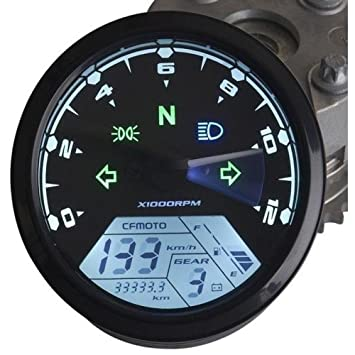 Welugnal MPH/KMH 124MPH/ 199kmh 12000 rpm LCD Digital Speedometer  Tachometer Odometer for 4 stroke 1/2/4 Cylinders Motorcycle