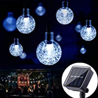 SEMILITS Solar Outdoor String Lights - 20ft 30LED Waterproof Globe String Lights, Christmas Solar Powered Crystal Ball Fairy Lights for Patio Garden Backyard Ambiance Decorations