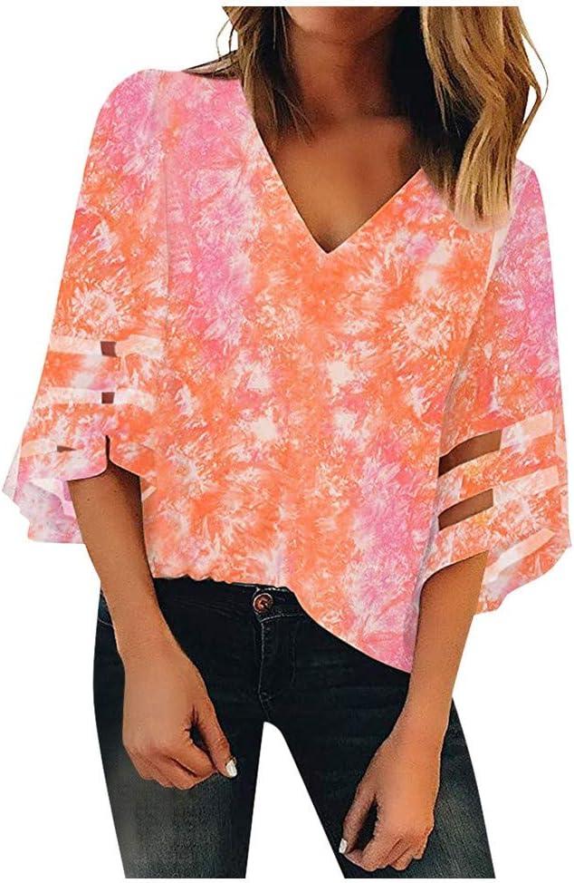YANG  탑 메쉬 패널 블라우스 여성용 V 넥 티셔츠 3 | 4 벨 슬리브 셔츠 캐주얼 루즈 티 탑스 패션 프린트 튜닉