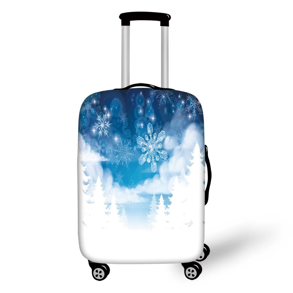 Travel Luggage Cover Suitcase Protector,Winter Decorations,Christmas Trees Setting with Snowflakes and Stars New Year Graphic Image,Blue White,for Travel