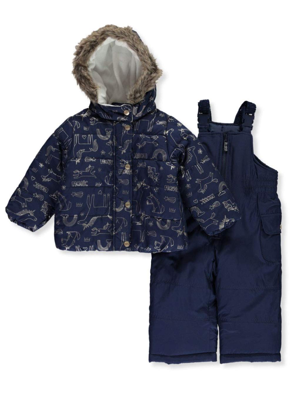 Carter's Baby Girls Heavyweight Jacket and Pants Snowsuit, Unicorns On Navy, 18 Months by Carter's