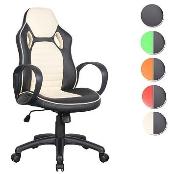 Schreibtischstuhl schwarz weiß  SixBros. Racing Optik Sportsitz Bürostuhl Gaming Schreibtischstuhl ...