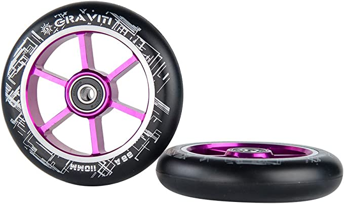 2X PRO STUNT SCOOTER PURPLE SOLID METAL CORE WHEELS 110mm 88A ABEC 9 BEARINGS 11