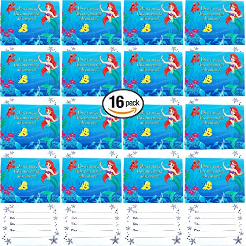 The Little Mermaid Ariel Princess Birthday Party Supplies Birthday Invitations Bundle for 16 Guests!
