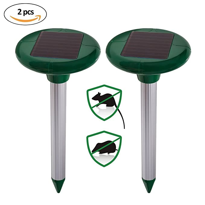 Ndier 2 Paquetes Repelente Solar Ultrasónico para Topos Solar Repelente Topos antitopos para Raton Roedor