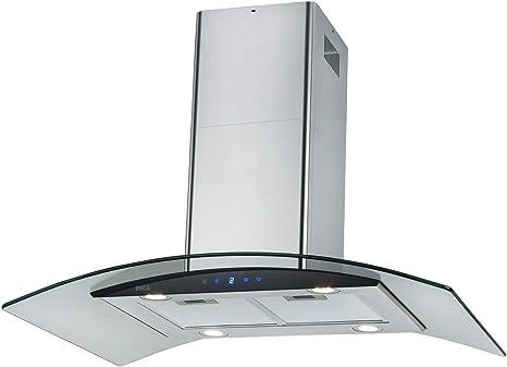 NEG NEG38-AT - Campana extractora (90 cm, acero inoxidable, con pantalla de cristal, iluminación LED y función de retorno): Amazon.es: Grandes electrodomésticos