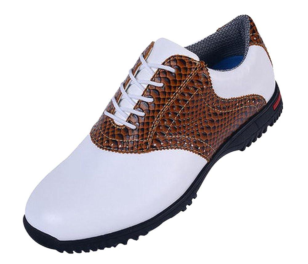 [ロモンス] メンズ イングランド風 Golf ゴルフシューズ 鰐柄 防水 滑り止め スパイク 25.5 cm ブラウン B01HDEICUA