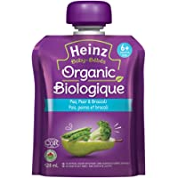 Heinz Baby Organic Strained Pea, Pear & Broccoli, 128mL Pouch, 6 Count