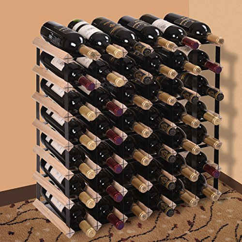 JAXPETY 42 Strong Bottle Holder Wine Rack Complete Wooden Wine Storage Pine Stand