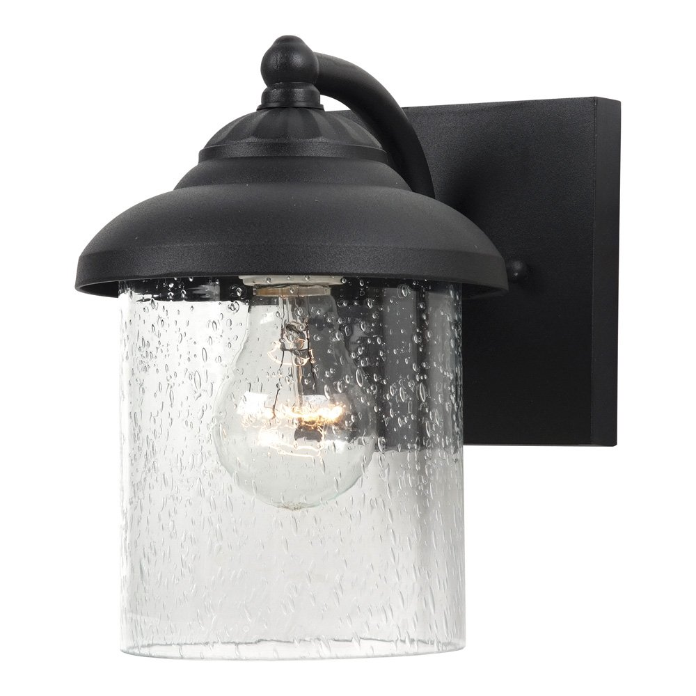 Sea Gull Lighting 84068-12 Lambert Hill One-Light Outdoor Wall Lantern with Clear Seeded Glass Shade, Black Finish