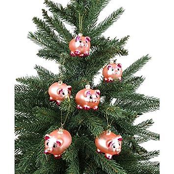 Christbaumkugeln Anhänger.Amazon De Buri 6er Set Glas Weihnachtsbaumschmuck Ferkel 7cm