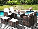 Leisure Zone Outdoor Rattan Wicker Patio Dining Table Set Garden Outdoor Patio Furniture Sets