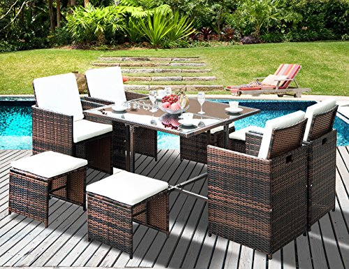 Leisure Zone Outdoor Rattan Wicker Patio Dining Table Set Garden Outdoor Patio Furniture Sets (9-Piece) For Sale