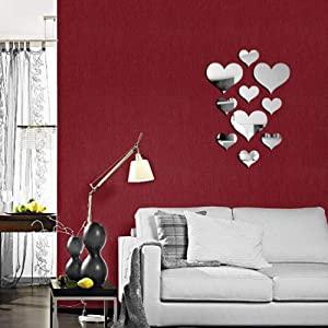CUGBO 20 Pieces Crystal Love Heart Mirror Wall Stickers, Acrylic 3D DIY Art Wall Decals Home Living Room Bathroom TV Background Decor, 10Pcs/lot(Silver)
